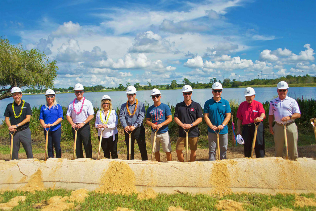 Correct Craft, USAWSF, Aktion Parks, and Nautique leaders and athletes break ground on the future site of Elite Cable Park